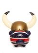 piggy bank wearing horned warrior helmet