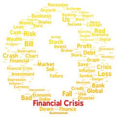 Financial crisis word cloud shape