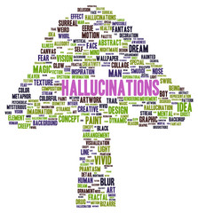 Hallucinations word cloud shape