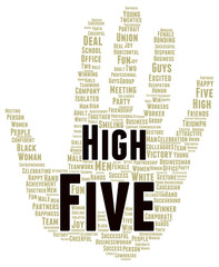 High five word cloud shape