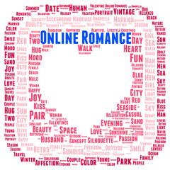 Online romance word cloud shape