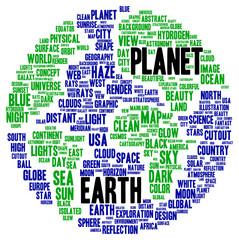 Planet Earth word cloud shape