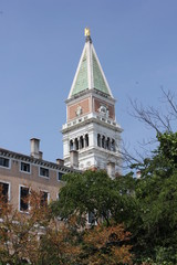 St.Mark Bell tower through vegetation