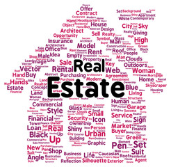 Real estate word cloud shape