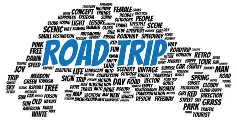 Road trip word cloud shape