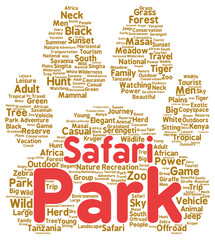 Safari park word cloud shape