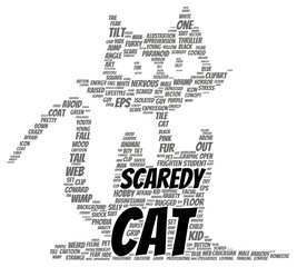 Scaredy cat word cloud shape