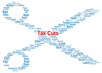 Tax Cuts word cloud shape