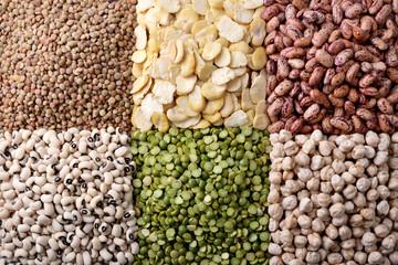 Lentils, fava beans, beans, peas, chickpeas