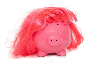 piggy bank wearing pink wig