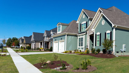 Street of residential homes