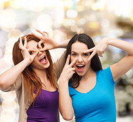 smiling teenage girls having fun