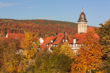 Altstadt von Hann. Münden im Weserbergland im Herbst