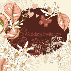 Wedding invitation with lemon flowers in pastel pink and beige c