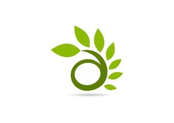 green leaf swirl logo, natural eco herbal health icon