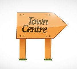 town centre wood sign illustration
