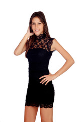 Elegant girl with a black dress