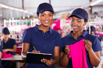 young african textile factory co-workers