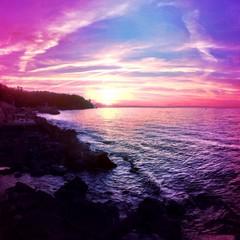 stunning sunset over the sea