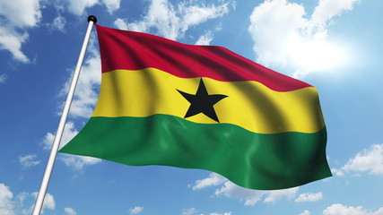 flag of Ghana with fabric structure against a cloudy sky