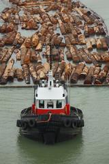 Tugboat and Log Boom