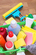 canvas print picture - Collection of cleaning products and tools