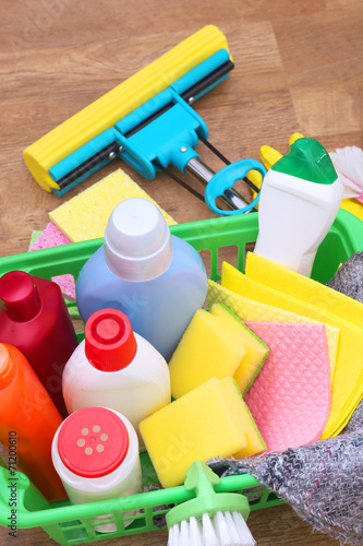 canvas print picture Collection of cleaning products and tools