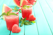 canvas print picture - Watermelon cocktail on table, close-up