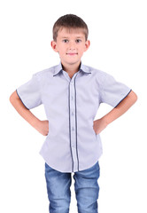 Little schoolboy isolated on white