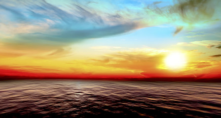 Beautiful Vibrant nature sunset Background