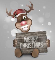 Reindeer Wood Board Sign
