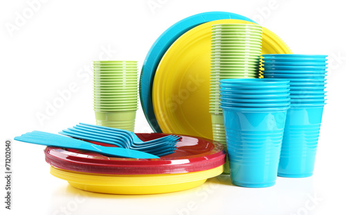 canvas print picture Bright plastic disposable tableware isolated on white