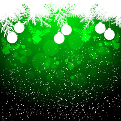Green Christmas background with balls and angel