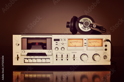 Leinwanddruck Bild Vintage Stereo Cassette Tape Deck Recorder