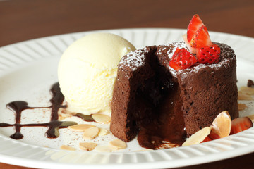 chocolate lava with vanilla ice cream