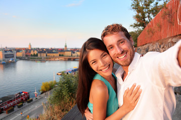 Couple taking selfie self portrait in Stockholm