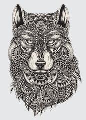 Bardzo szczegółowe streszczenie wilk ilustracja