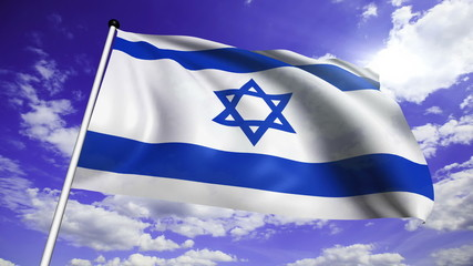 flag of Israel with fabric structure against a cloudy sky