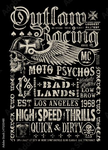 Outlaw Racing vintage poster t-shirt graphic - 71203481
