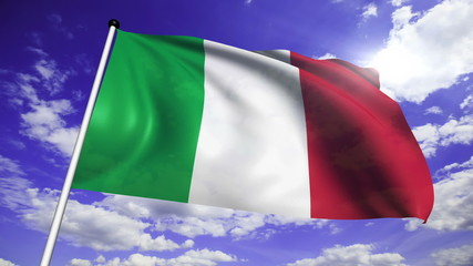 flag of Italy with fabric structure against a cloudy sky