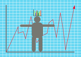 Vector illustration display stock market goes up and down with m