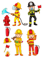 Simple sketches of the firemen