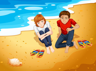Couple and beach
