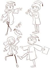 A plain sketch of a graduation ceremony