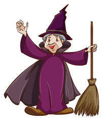 A coloured sketch of a witch with a broom