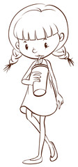 A simple sketch of a young girl drinking