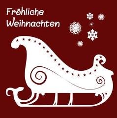 Weihnachtliche Karte Silhouette Kutsche Schlitten