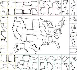 アメリカの地図 手書き 書 筆絵