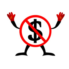 No Dollars sign icon. USD currency symbol. Money label. Red