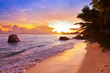 canvas print picture - Sunset on beach Source D'Argent at Seychelles